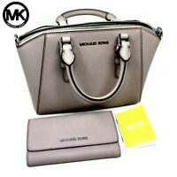 MICHAEL KORS Saffiano Leather Ciara Bag Cement Grey w/matching Tri-Fold Wallet