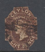 Ceylon 1859 8d Brown SG7 - used cut to shape