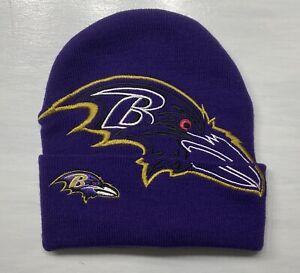Vintage 1990's Super Rare Baltimore Ravens Stitched Purple Toboggan Beanie Hat