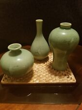SET OF 3 CELADON CRANE GREEN GLAZED CERAMIC KOREAN VASES SIGNED! IN ORIGINAL BOX