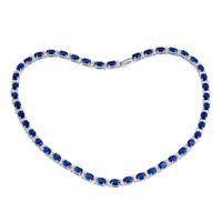 "Estate $5000 15ct Blue Sapphire & Diamond 14k White Gold Over 16""Tennis Necklace"