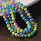 New 50pcs 6mm Glass With Color Coated Rondelle Loose Beads Yellow&Blue&Purple