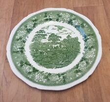 Adams English Large Rimmed Soup Bowl with Scenic Green Pattern 12 1/2in
