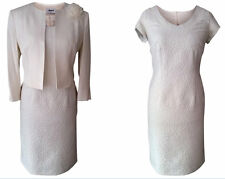 IVORY CREAM MOTHER OF THE BRIDE WEDDING OUTFIT 2 PIECE JACKET DRESS SIZE 14