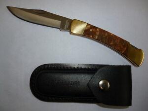 RAZOR BLADES LIMITED EDITION BURL WOOD STOCKMAN LOCK BACK POCKET HUNTING KNIFE