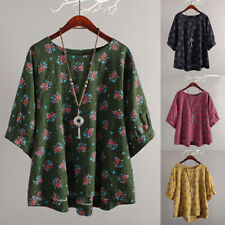 Vintage Womens Loose Baggy Summer Boho Floral T-Shirt Tops Blouse Plus Size 6-24