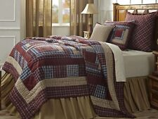 FINLEY PLAID 2pc Twin QUILT SET : 100% COTTON RED BROWN COUNTRY LOG CABIN LODGE