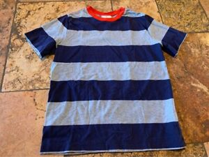 Size 10 140cm Hanna Andersson Blue Grey Striped Short Sleeve Shirt