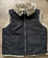 Weatherproof Faux Fur Vest Womens Size XL Reversible Zip Black Lined Outdoor
