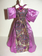 Barbie Clone Doll Gown Shiny Purple Magenta Metallic Dress With Stones