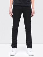 Nudie Herren Slim Fit Raw Denim Stretch Jeans Hose | Thin Finn Org. Black Ring