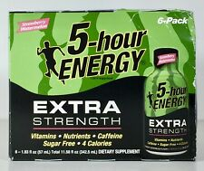 5 Hour Energy Extra Strength, STRAWBERRY WATERMELON, 6 Pack, Sealed, 10/2020