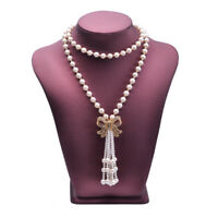 BEAUTIFUL 7-8MM AAA+ NATURAL WHITE  AKOYA PEARL tassel NECKLACE 32INCH