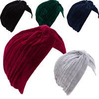 Turbante donna cuffia retro fascia ciniglia cappello pieghe caldo nuovo BE-1757