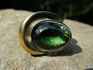 BORA Sterling Silver Gold Accent Green Tourmaline Oxidized Brutalist Ring Size 6
