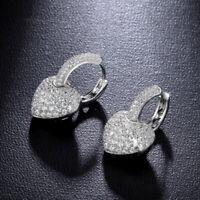Elegant Woman 925 Silver White Sapphire Heart Earring Wedding Engagement Jewelry