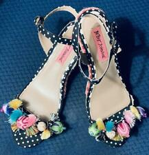 FUNKY Betsy Johnson Wedge Sandals with Colorful Tassels & Pom Poms - Size 7.5