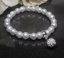 Funkelndes Perlen Armband weiß  19cm  Shamballa Perle  Strass Rondelle NEU