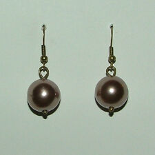 COFFEE BROWN PEARL PLUMP DROP EARRINGS BRIGHT GOLD PLATED WIRES