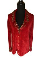 Storybook Knits Beaded Embellished X-Mas Sweater Top Size L