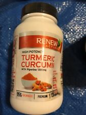 Renew Actives High Potency Turmeric Curcumin-120caps Free Shipping Dented Bottle