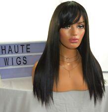 20 INCH LONG JET BLACK WOMENS Wig BANGS FRINGE STRAIGHT REALISTIC HUMAN HAIR