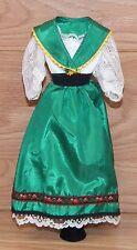 Vintage 80's Style Around the World Ireland / Irish Green Dress For Barbie Doll