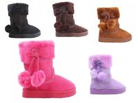 5 Color Side Zipper Pompom Baby Toddlers Kids Girls Faux Fur Booties NO BOX