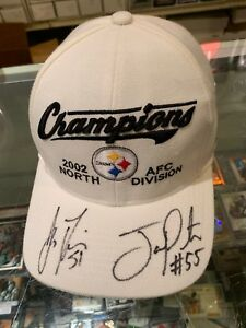 2002 AFC NORTH CHAMPS PITTSBURGH STEELERS SIGNED BASEBALL CAP FARRIOR PORTER