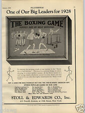 1928 PAPER AD Stoll & Edwards Co Toy Play The Boxing Board Game New York