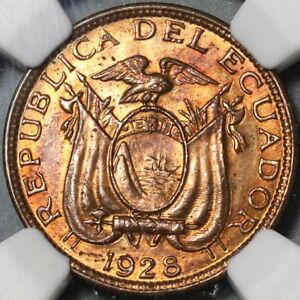 1928 NGC MS 64 RB Ecuador 1 Centavo Mint State BU Coin (21020101C)