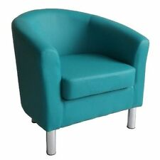 DESIGNER Leather Tub Chair Armchair for Dining Living Room Office Reception Aqua