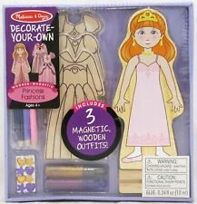 Melissa and Doug Decorate-Your-Own Princess Fashions Doll Kit Wooden Magnetic