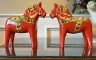 Pair Of Swedish Dala Horses - 10 Inch Red Orange Painted Wood Nils Olsson Label