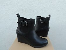 UGG ARLETA BLACK WATERPROOF LEATHER/ WOOL WEDGE BOOTS, WOMEN US 8/ EUR 39  ~NIB