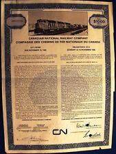 Canada. $1000 Bond The Canadian National Railway Company cancelled 1976