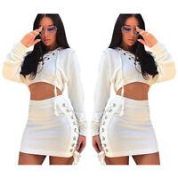 2pcs Fashion Women Hooded Long Sleeve Fleece+Miniskirt Bandage Clubwear Dress