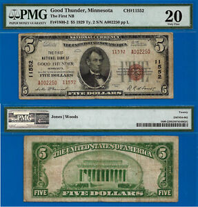 TOP POP CH# 13652 - 1929 $5 (( Finest Known - Good Thunder, Minnesota )) PMG 20-
