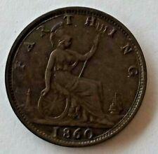 UK 1860 BRONZE FARTHING COIN..QUEEN VICTORIA.
