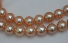 "Huge 18""11-12mm Natural South Sea genuine gold pink round pearl necklace 866AA"