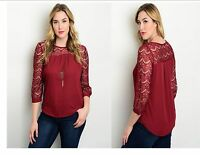 Women Slim Plus Size Sheer Blouse Peasant Top Lace 3/4 Sleeve Casual Cute