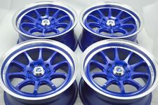 15 blue Wheels Civic Lancer Mirage Protege Miata Spectra Fit 4x100 4x114.3 Rims
