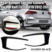 2PCS Rear Bumper Splitter Canard Black Plastic For VW Golf 7 GTI R GT