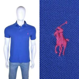 RALPH LAUREN Vintage 90s Slim Fit Pique Polo Shirt M T Shirt Top Blue