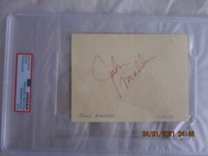 "John Madden Oakland Raiders Signed 4"" X 5"" Cut Encapsulated PSA Authentication"