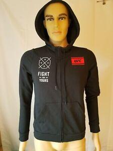 UFC MMA Reebok Black Hoodie Sweatshirt Fight For Yours NWT Womens Medium Mens Sm