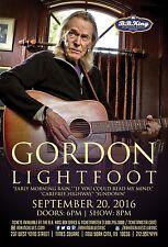 GORDON LIGHTFOOT 2016 NEW YORK CITY CONCERT TOUR POSTER - Folk Pop / Rock Music