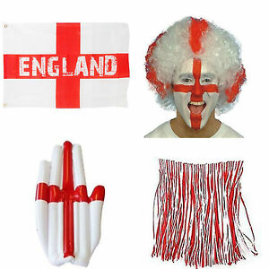 England Ultimate Fan Pack 3x2 Flag Grass Skirt Wig Inflatable Hand