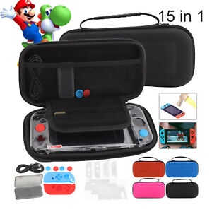 For Nintendo Switch Accessories Carrying Case Bag+Cover+Charge Cable+Protector