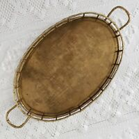 """Hollywood Regency Oval Solid Brass Faux Bamboo Style Handle Tray Large 22"""""""